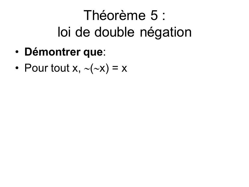 Théorème 5 : loi de double négation Démontrer que: Pour tout x, ( x) = x