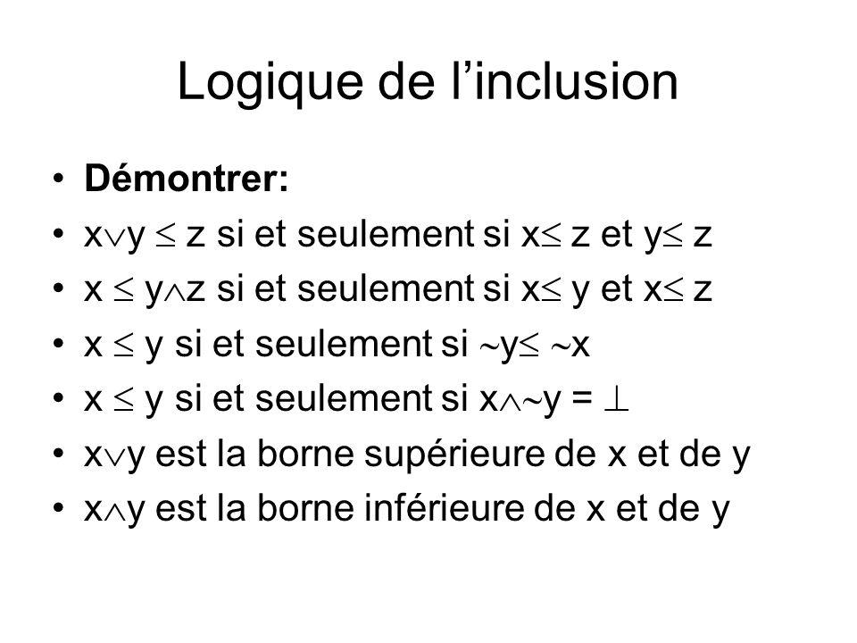 Logique de linclusion Démontrer: x y z si et seulement si x z et y z x y z si et seulement si x y et x z x y si et seulement si y x x y si et seulemen