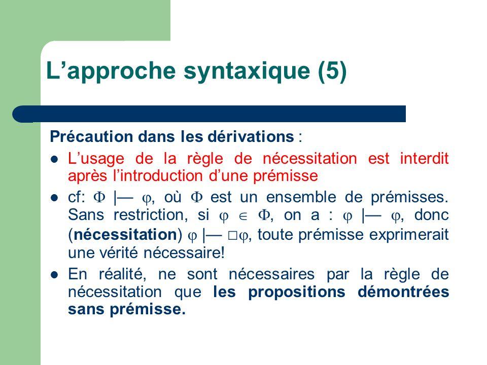Précaution dans les dérivations : Lusage de la règle de nécessitation est interdit après lintroduction dune prémisse cf: |, où est un ensemble de prém
