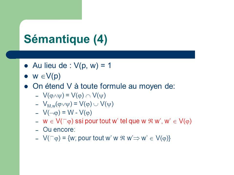 Sémantique (4) Au lieu de : V(p, w) = 1 w V(p) On étend V à toute formule au moyen de: – V( ) = V( ) V( ) – V M,w ( ) = V( ) V( ) – V( ) = W - V( ) –