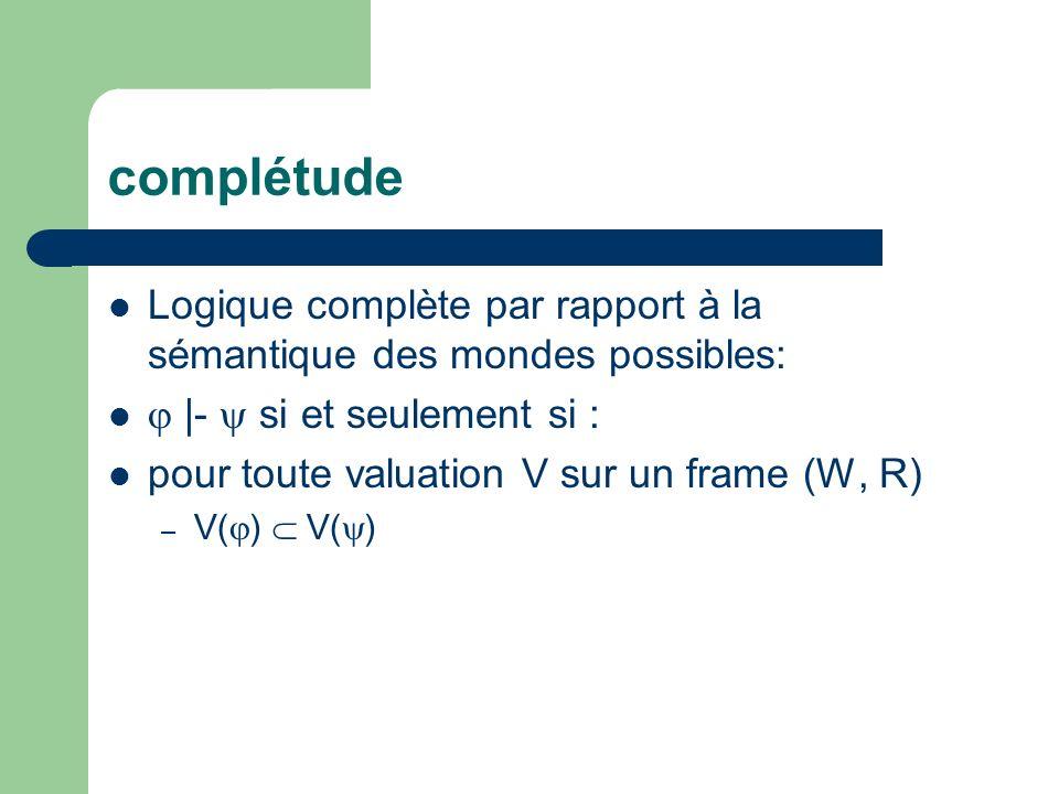 complétude Logique complète par rapport à la sémantique des mondes possibles: |- si et seulement si : pour toute valuation V sur un frame (W, R) – V(