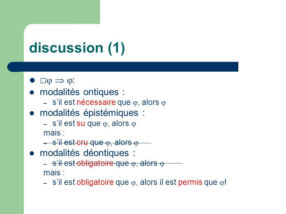 discussion (1) : modalités ontiques : – sil est nécessaire que, alors modalités épistémiques : – sil est su que, alors mais : – sil est cru que, alors