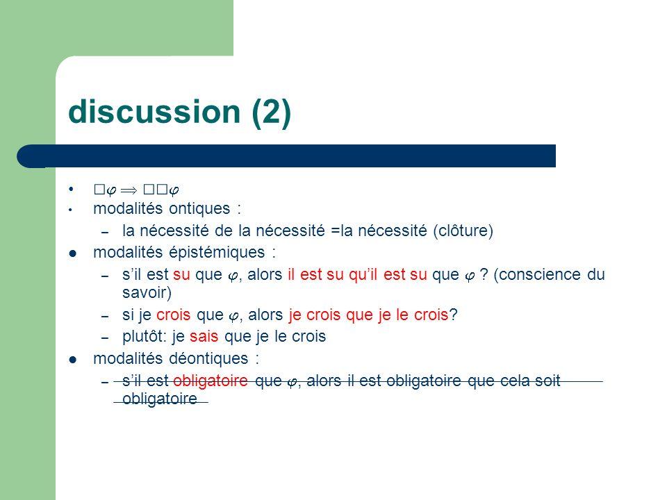 discussion (2) modalités ontiques : – la nécessité de la nécessité =la nécessité (clôture) modalités épistémiques : – sil est su que, alors il est su