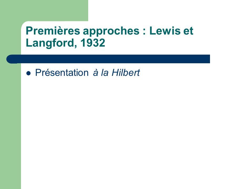 Premières approches : Lewis et Langford, 1932 Présentation à la Hilbert