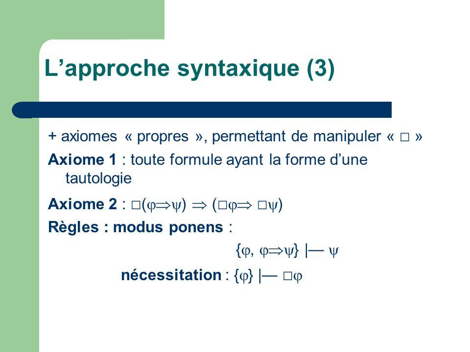 + axiomes « propres », permettant de manipuler « » Axiome 1 : toute formule ayant la forme dune tautologie Axiome 2 : ( ) ( ) Règles : modus ponens :