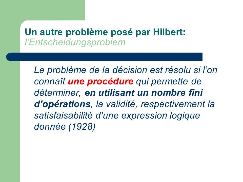 Un autre problème posé par Hilbert: lEntscheidungsproblem Le problème de la décision est résolu si lon connaît une procédure qui permette de détermine