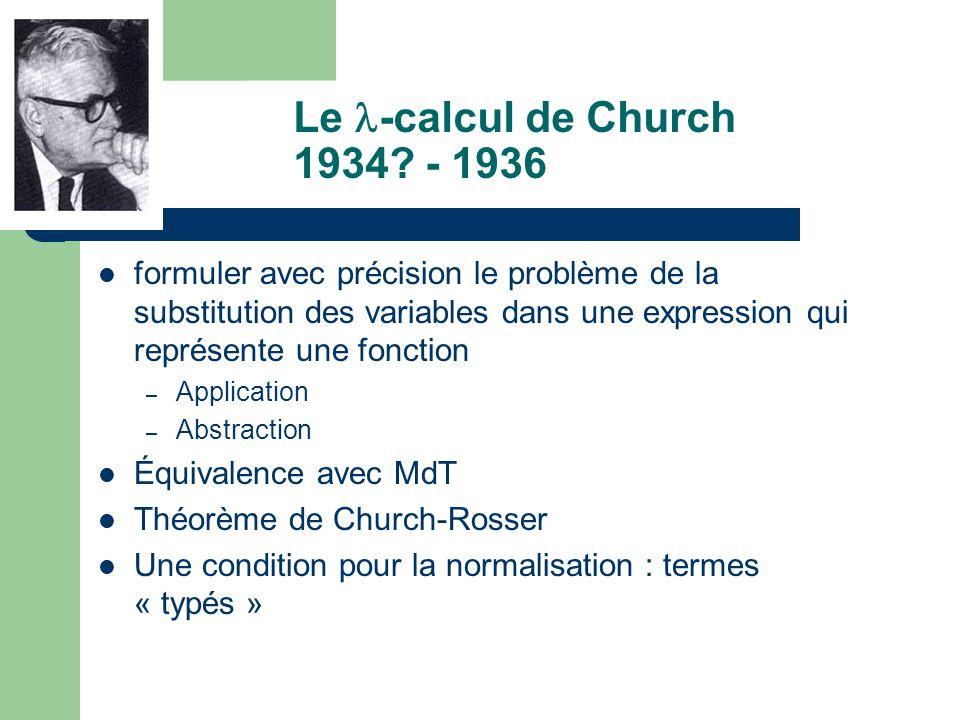 Le -calcul de Church 1934? - 1936 formuler avec précision le problème de la substitution des variables dans une expression qui représente une fonction