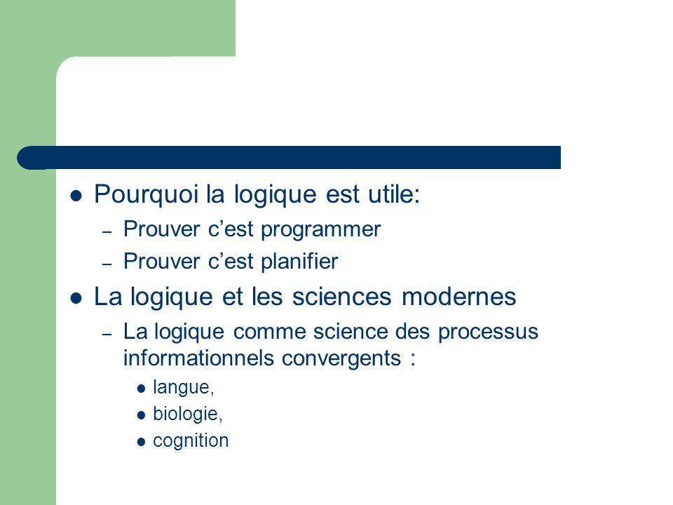 Pourquoi la logique est utile: – Prouver cest programmer – Prouver cest planifier La logique et les sciences modernes – La logique comme science des p
