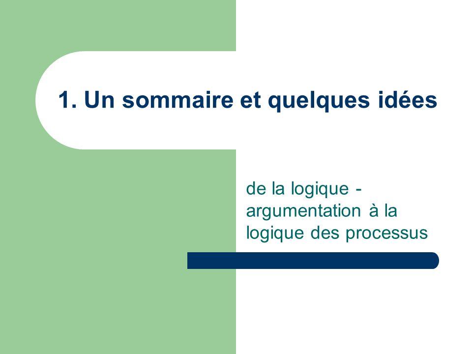 1. Un sommaire et quelques idées de la logique - argumentation à la logique des processus