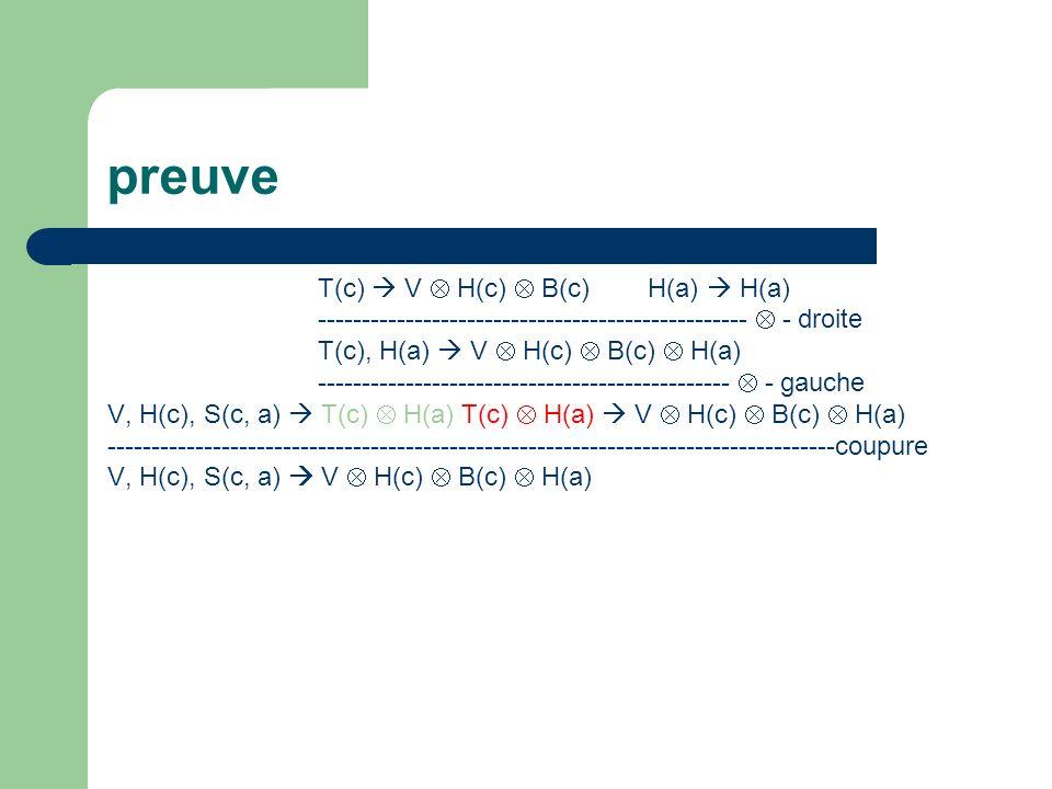 preuve T(c) V H(c) B(c) H(a) H(a) ------------------------------------------------- - droite T(c), H(a) V H(c) B(c) H(a) -----------------------------