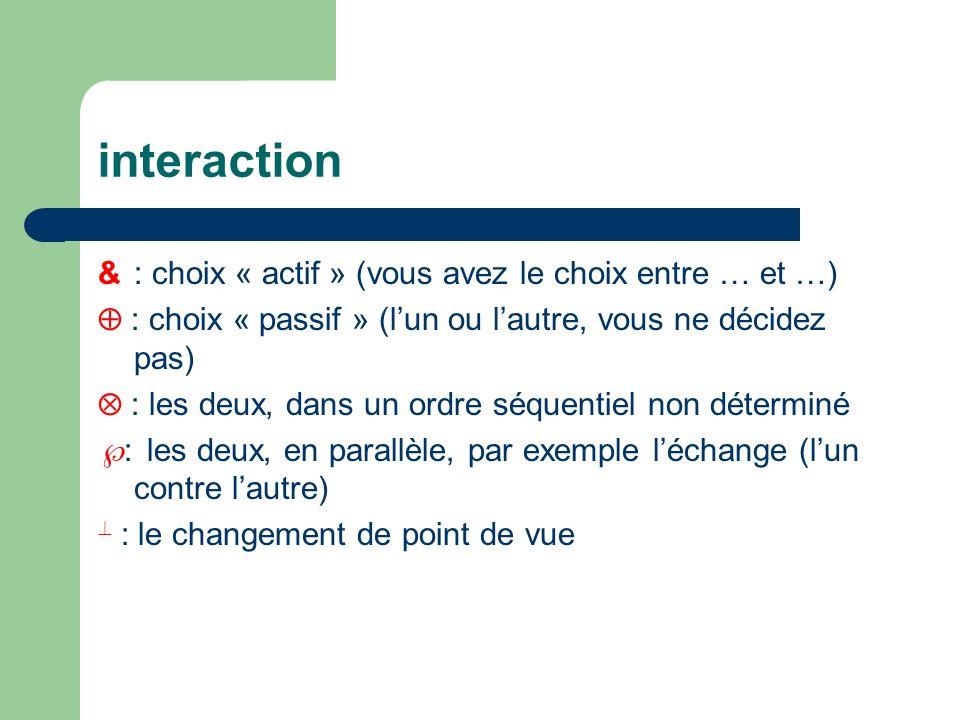 interaction &: choix « actif » (vous avez le choix entre … et …) : choix « passif » (lun ou lautre, vous ne décidez pas) : les deux, dans un ordre séq