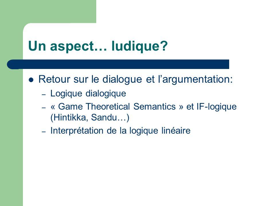 Un aspect… ludique? Retour sur le dialogue et largumentation: – Logique dialogique – « Game Theoretical Semantics » et IF-logique (Hintikka, Sandu…) –
