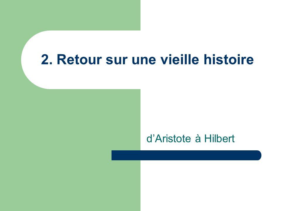 2. Retour sur une vieille histoire dAristote à Hilbert
