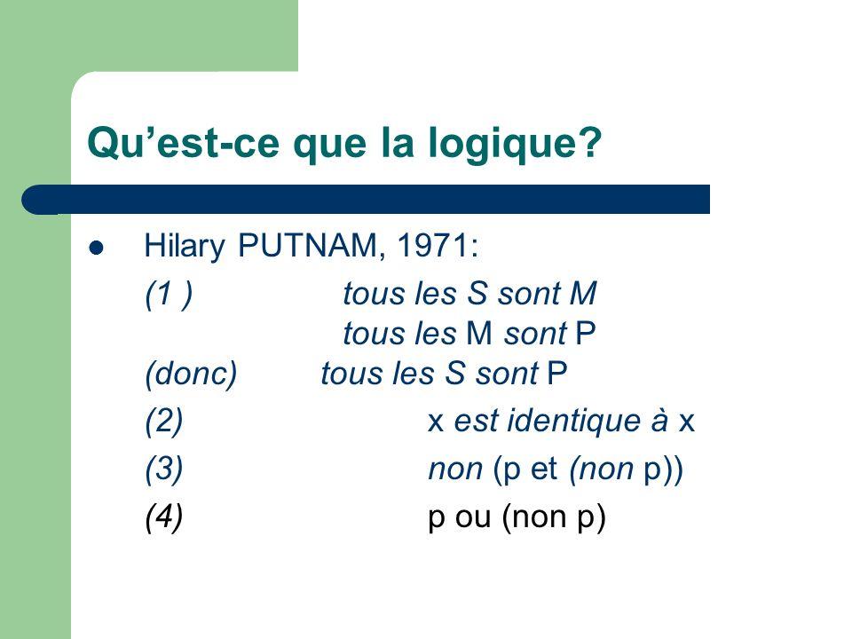 Quest-ce que la logique? Hilary PUTNAM, 1971: (1 )tous les S sont M tous les M sont P (donc) tous les S sont P (2)x est identique à x (3)non (p et (no