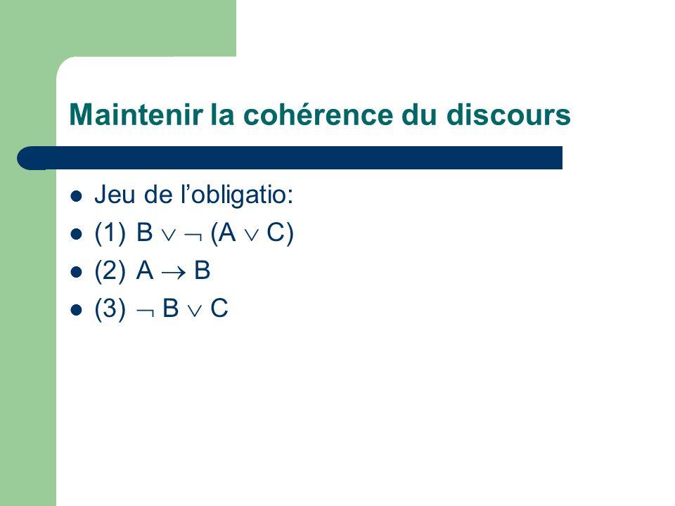 Maintenir la cohérence du discours Jeu de lobligatio: (1)B (A C) (2)A B (3) B C