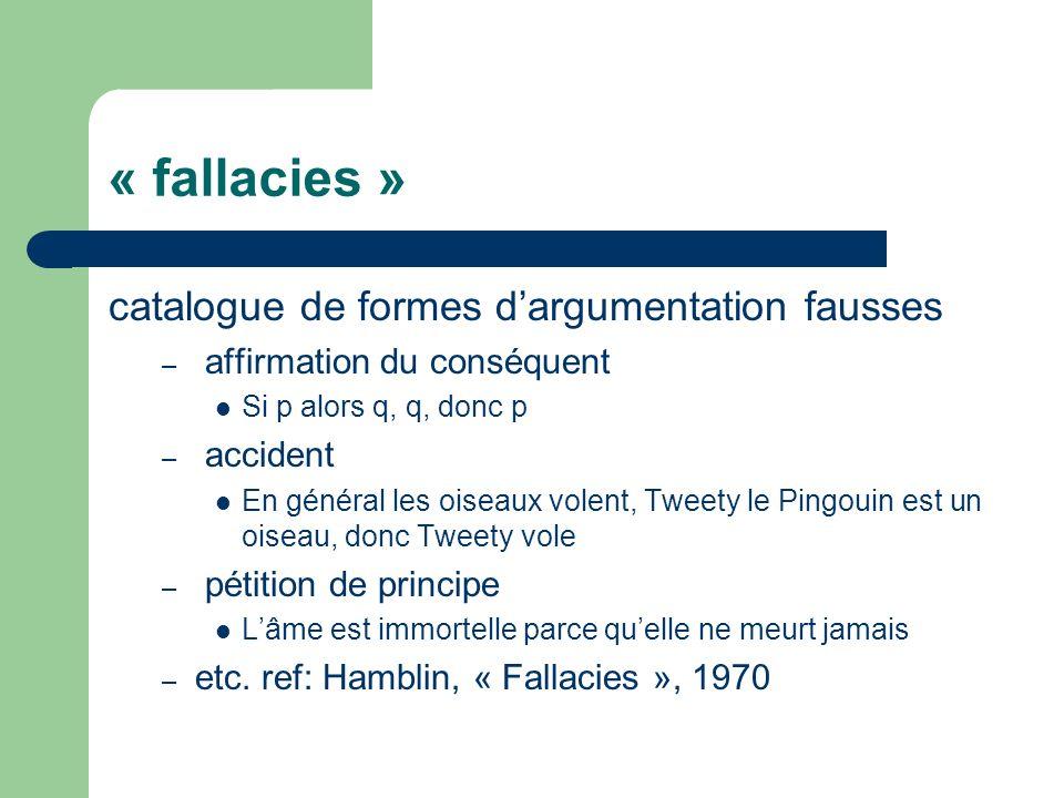 « fallacies » catalogue de formes dargumentation fausses – affirmation du conséquent Si p alors q, q, donc p – accident En général les oiseaux volent,