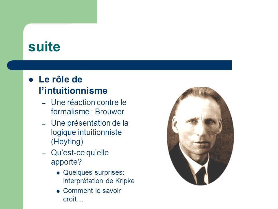 suite Le rôle de lintuitionnisme – Une réaction contre le formalisme : Brouwer – Une présentation de la logique intuitionniste (Heyting) – Quest-ce qu
