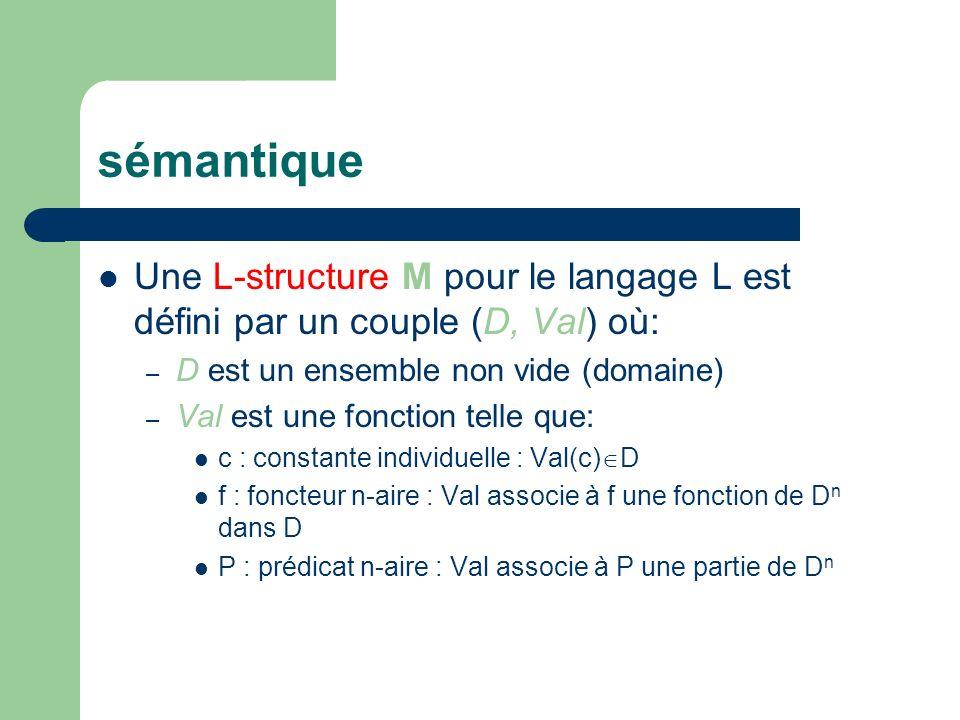 sémantique Une L-structure M pour le langage L est défini par un couple (D, Val) où: – D est un ensemble non vide (domaine) – Val est une fonction tel