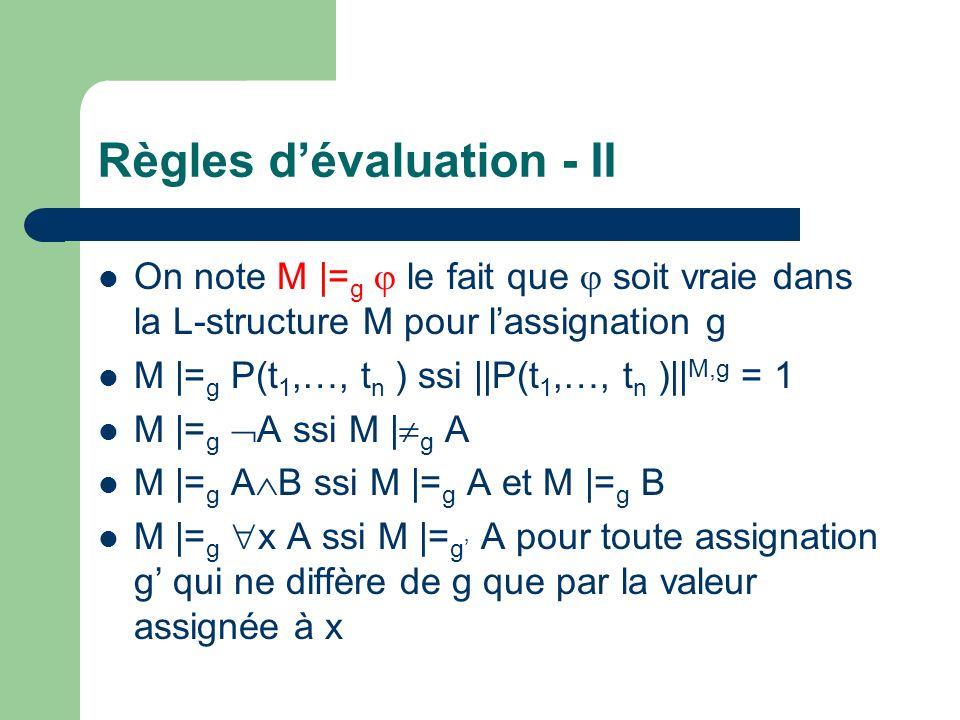Règles dévaluation - II On note M  = g le fait que soit vraie dans la L-structure M pour lassignation g M  = g P(t 1,…, t n ) ssi   P(t 1,…, t n )   M