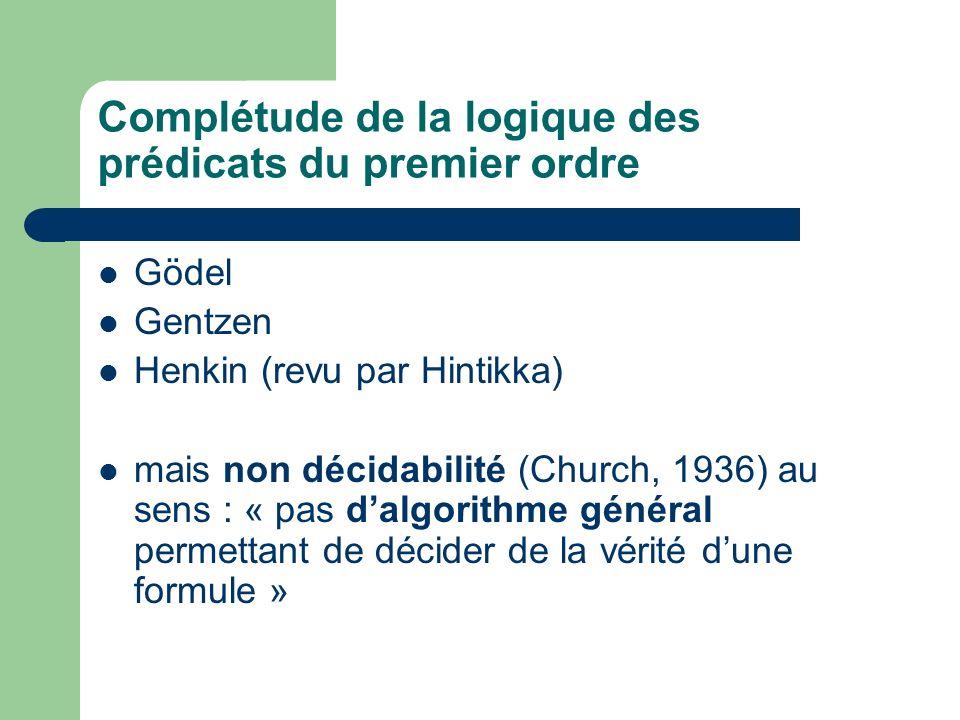 Complétude de la logique des prédicats du premier ordre Gödel Gentzen Henkin (revu par Hintikka) mais non décidabilité (Church, 1936) au sens : « pas