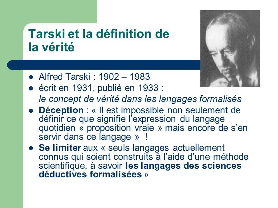 Tarski et la définition de la vérité Le schéma général dune définition de la notion de « proposition vraie »: x est une proposition vraie si et seulement si p