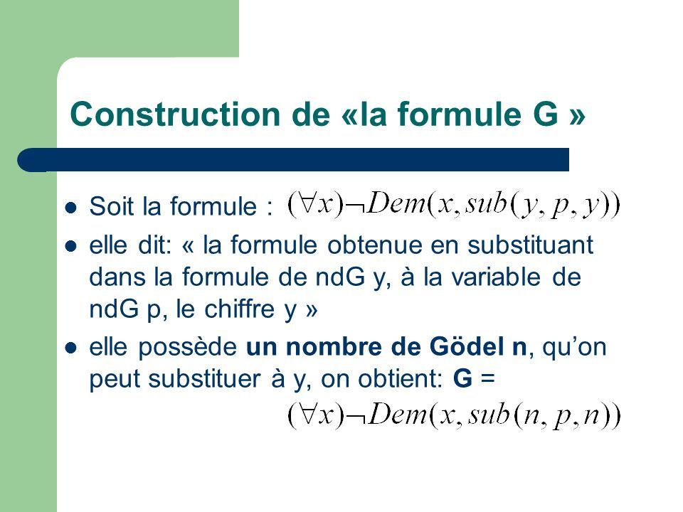 Construction de «la formule G » Soit la formule : elle dit: « la formule obtenue en substituant dans la formule de ndG y, à la variable de ndG p, le c