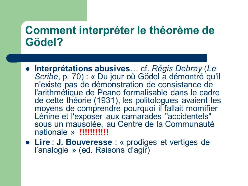 Comment interpréter le théorème de Gödel? Interprétations abusives… cf. Régis Debray (Le Scribe, p. 70) : « Du jour où Gödel a démontré qu'il n'existe