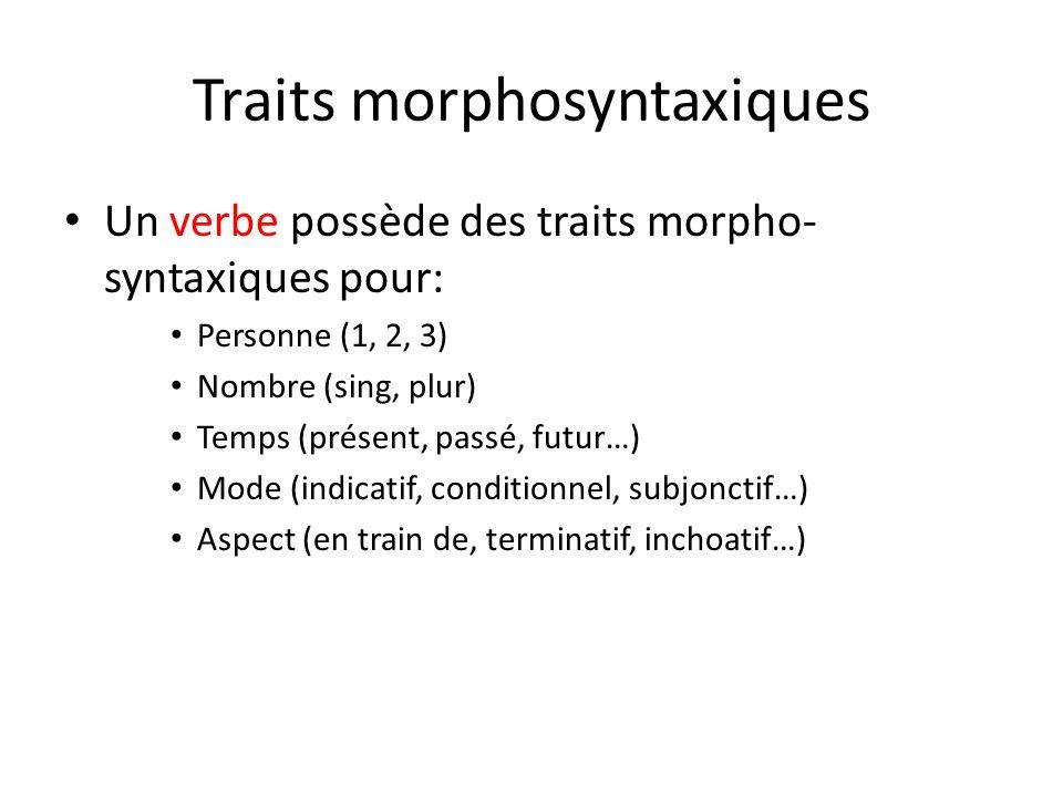 Traits morphosyntaxiques Un verbe possède des traits morpho- syntaxiques pour: Personne (1, 2, 3) Nombre (sing, plur) Temps (présent, passé, futur…) M