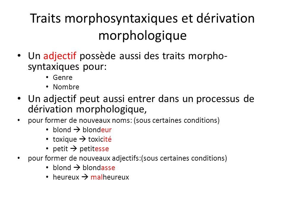 Traits morphosyntaxiques et dérivation morphologique Un adjectif possède aussi des traits morpho- syntaxiques pour: Genre Nombre Un adjectif peut auss