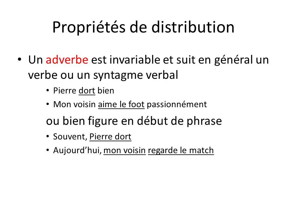 Propriétés de distribution Un adverbe est invariable et suit en général un verbe ou un syntagme verbal Pierre dort bien Mon voisin aime le foot passio