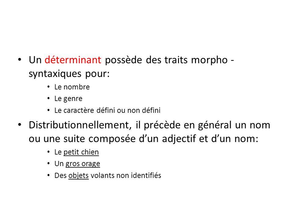 Un déterminant possède des traits morpho - syntaxiques pour: Le nombre Le genre Le caractère défini ou non défini Distributionnellement, il précède en