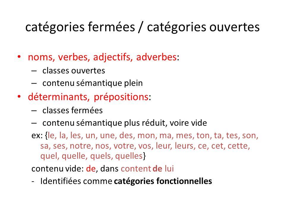 catégories fermées / catégories ouvertes noms, verbes, adjectifs, adverbes: – classes ouvertes – contenu sémantique plein déterminants, prépositions: