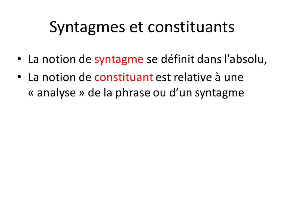 Syntagmes et constituants La notion de syntagme se définit dans labsolu, La notion de constituant est relative à une « analyse » de la phrase ou dun s