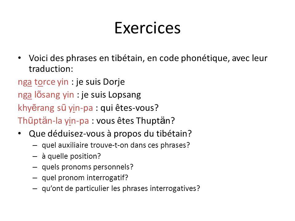Exercices Voici des phrases en tibétain, en code phonétique, avec leur traduction: nga torce yin : je suis Dorje nga l õ sang yin : je suis Lopsang kh