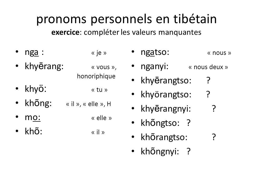 pronoms personnels en tibétain exercice: compléter les valeurs manquantes nga : « je » khy ē rang: « vous », honoriphique khy ö: « tu » kh õ ng: « il