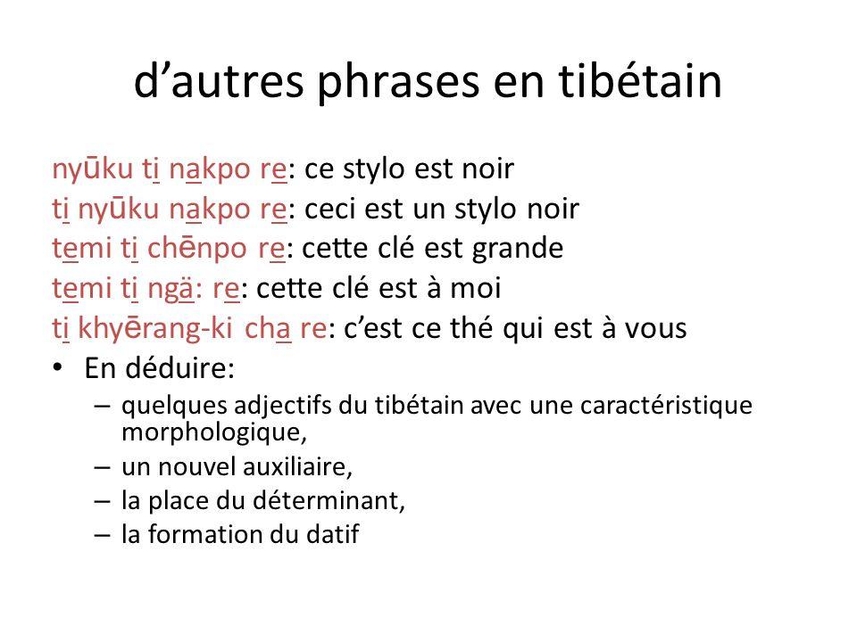 dautres phrases en tibétain ny ū ku ti nakpo re: ce stylo est noir ti ny ū ku nakpo re: ceci est un stylo noir temi ti ch ē npo re: cette clé est gran