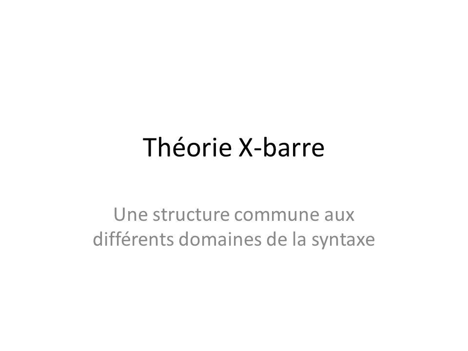 Théorie X-barre Une structure commune aux différents domaines de la syntaxe