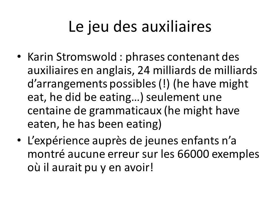 Le jeu des auxiliaires Karin Stromswold : phrases contenant des auxiliaires en anglais, 24 milliards de milliards darrangements possibles (!) (he have