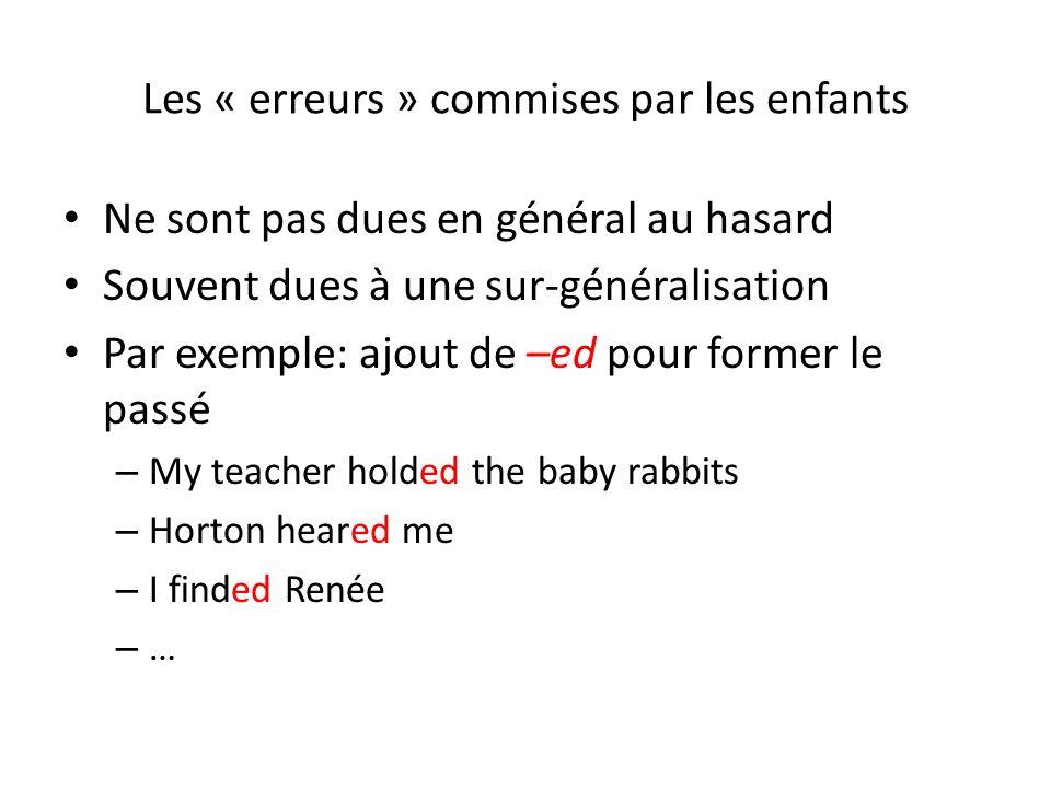 Les « erreurs » commises par les enfants Ne sont pas dues en général au hasard Souvent dues à une sur-généralisation Par exemple: ajout de –ed pour fo