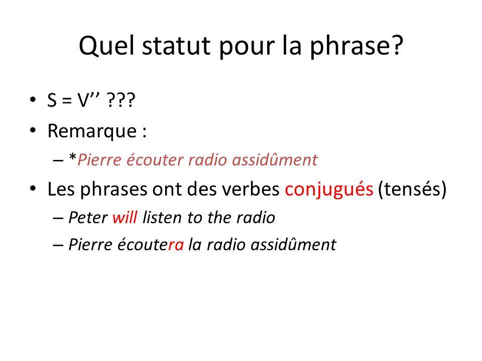 Quel statut pour la phrase? S = V ??? Remarque : – *Pierre écouter radio assidûment Les phrases ont des verbes conjugués (tensés) – Peter will listen