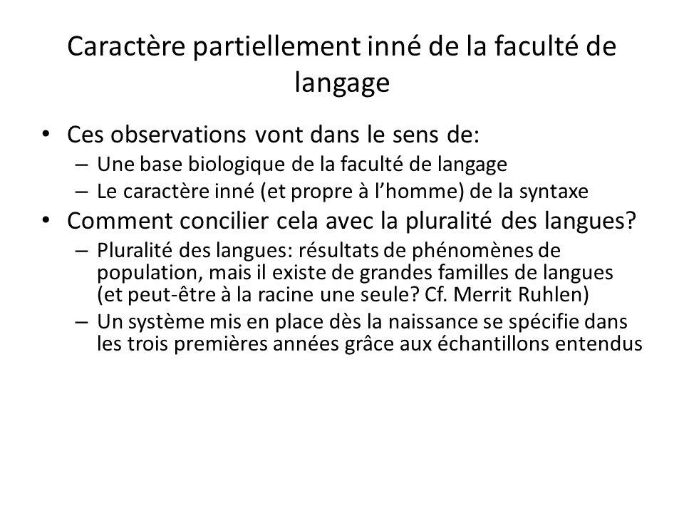 Caractère partiellement inné de la faculté de langage Ces observations vont dans le sens de: – Une base biologique de la faculté de langage – Le carac