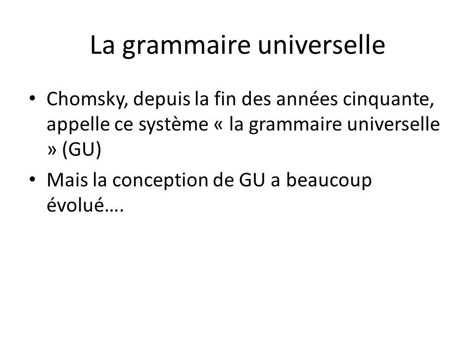 La grammaire universelle Chomsky, depuis la fin des années cinquante, appelle ce système « la grammaire universelle » (GU) Mais la conception de GU a