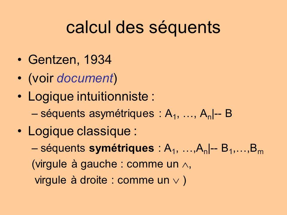 calcul des séquents Gentzen, 1934 (voir document) Logique intuitionniste : –séquents asymétriques : A 1, …, A n |-- B Logique classique : –séquents symétriques : A 1, …,A n |-- B 1,…,B m (virgule à gauche : comme un, virgule à droite : comme un )