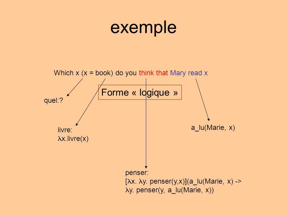 exemple Forme « logique » quel:.