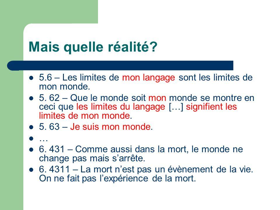 Mais quelle réalité. 5.6 – Les limites de mon langage sont les limites de mon monde.