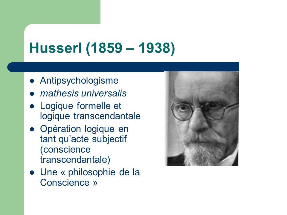 Husserl (1859 – 1938) Antipsychologisme mathesis universalis Logique formelle et logique transcendantale Opération logique en tant quacte subjectif (conscience transcendantale) Une « philosophie de la Conscience »