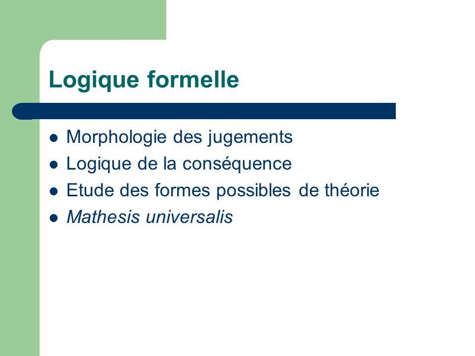 Logique formelle Morphologie des jugements Logique de la conséquence Etude des formes possibles de théorie Mathesis universalis