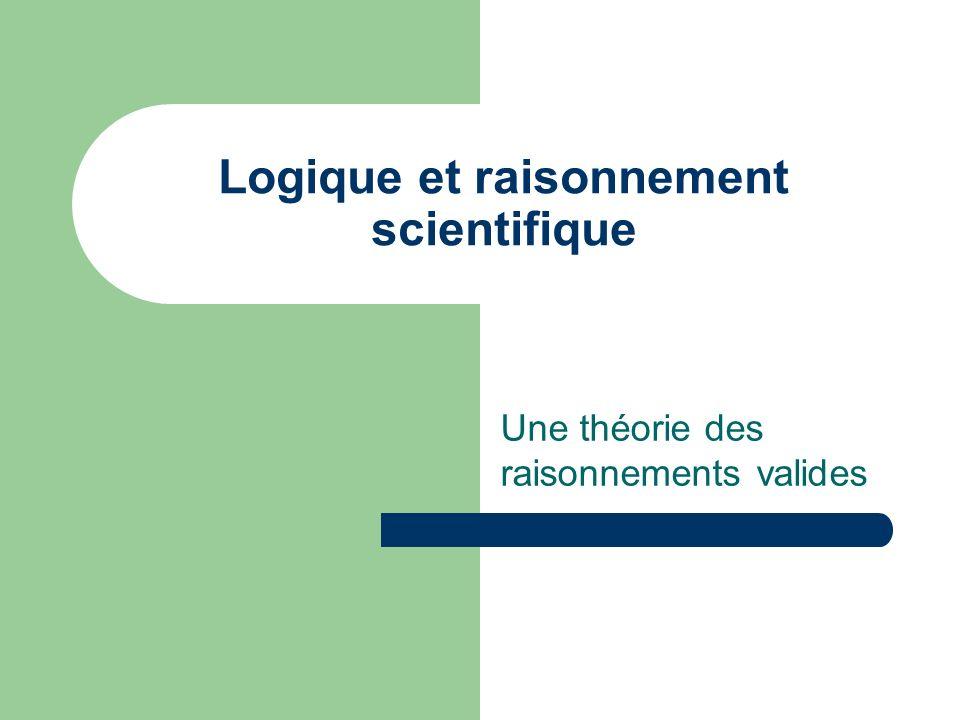 Logique et raisonnement scientifique Une théorie des raisonnements valides