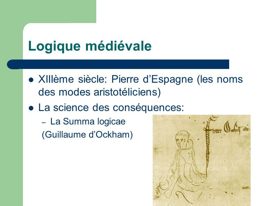 Logique médiévale XIIIème siècle: Pierre dEspagne (les noms des modes aristotéliciens) La science des conséquences: – La Summa logicae (Guillaume dOck