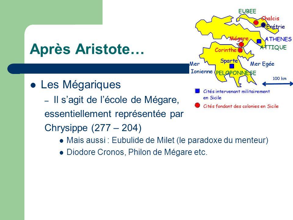 Après Aristote… Les Mégariques – Il sagit de lécole de Mégare, essentiellement représentée par Chrysippe (277 – 204) Mais aussi : Eubulide de Milet (l